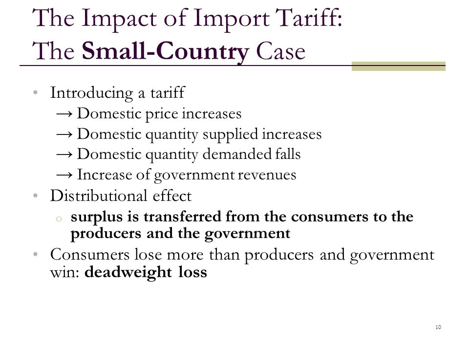 10 The Impact of Import Tariff: The Small-Country Case Introducing a tariff Domestic price increases Domestic quantity supplied increases Domestic qua