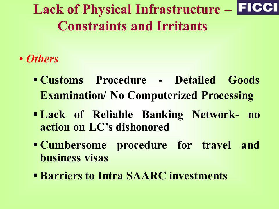 Others Customs Procedure - Detailed Goods Examination/ No Computerized Processing Lack of Reliable Banking Network- no action on LCs dishonored Cumbersome procedure for travel and business visas Barriers to Intra SAARC investments Lack of Physical Infrastructure – Constraints and Irritants