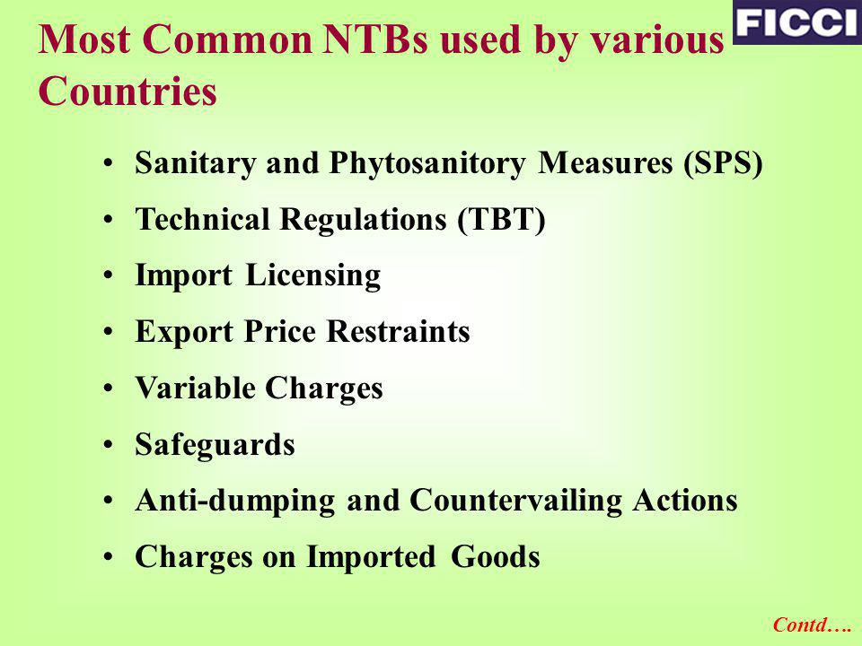 Most Common NTBs used by various Countries Customs Procedures Minimum Import Price Market Labeling Practice Port Restrictions Quantitative/Marketing Restrictions Rules of Origin Preferential Access Packaging Requirements