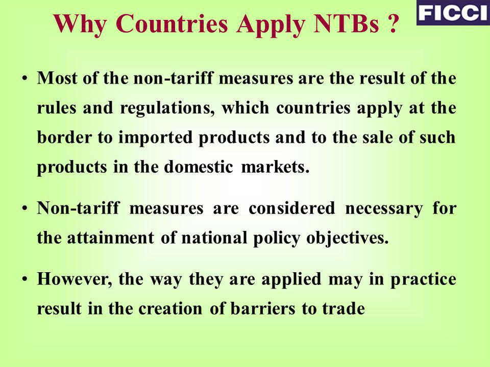 Why Countries Apply NTBs .