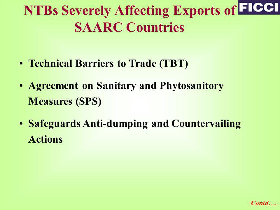 NTBs Severely Affecting Exports of SAARC Countries Technical Barriers to Trade (TBT) Agreement on Sanitary and Phytosanitory Measures (SPS) Safeguards Anti-dumping and Countervailing Actions Contd….
