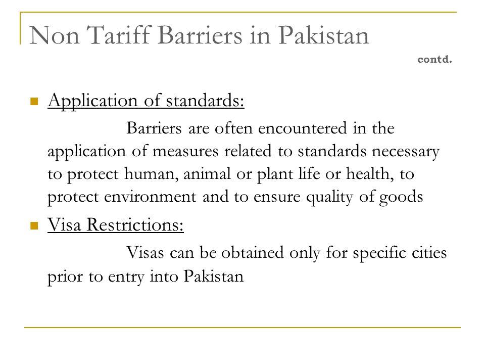 Non Tariff Barriers in Pakistan contd.