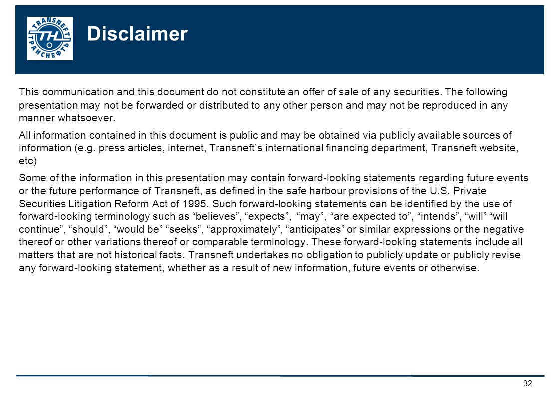 32 Disclaimer This communication and this document do not constitute an offer of sale of any securities.