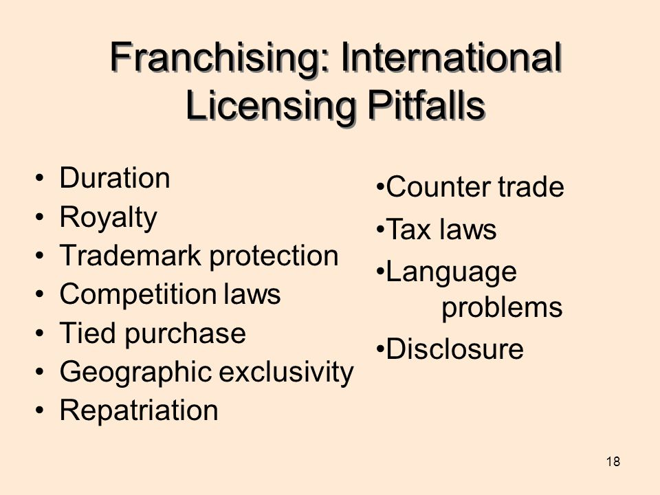 18 Franchising: International Licensing Pitfalls Duration Royalty Trademark protection Competition laws Tied purchase Geographic exclusivity Repatriation Counter trade Tax laws Language problems Disclosure