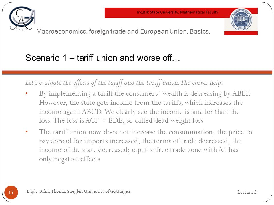 Macroeconomics, foreign trade and European Union. Basics. Lets evaluate the effects of the tariff and the tariff union. The curves help: By implementi