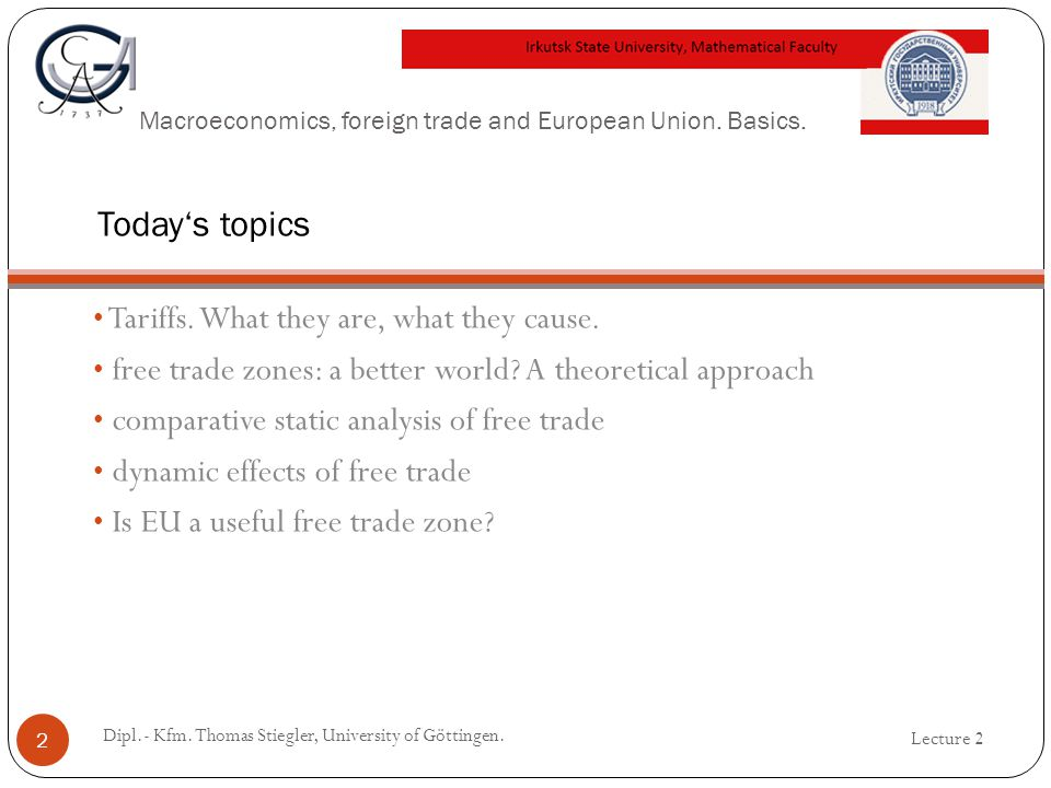 Macroeconomics, foreign trade and European Union. Basics. Tariffs. What they are, what they cause. free trade zones: a better world? A theoretical app