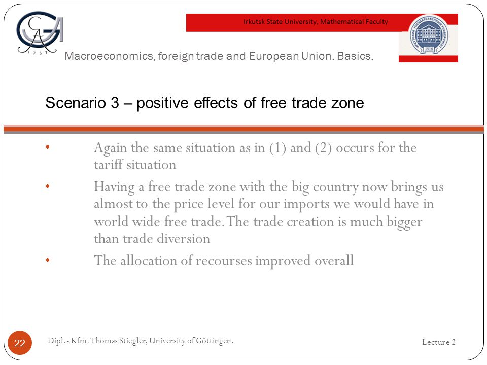 Macroeconomics, foreign trade and European Union. Basics. Again the same situation as in (1) and (2) occurs for the tariff situation Having a free tra