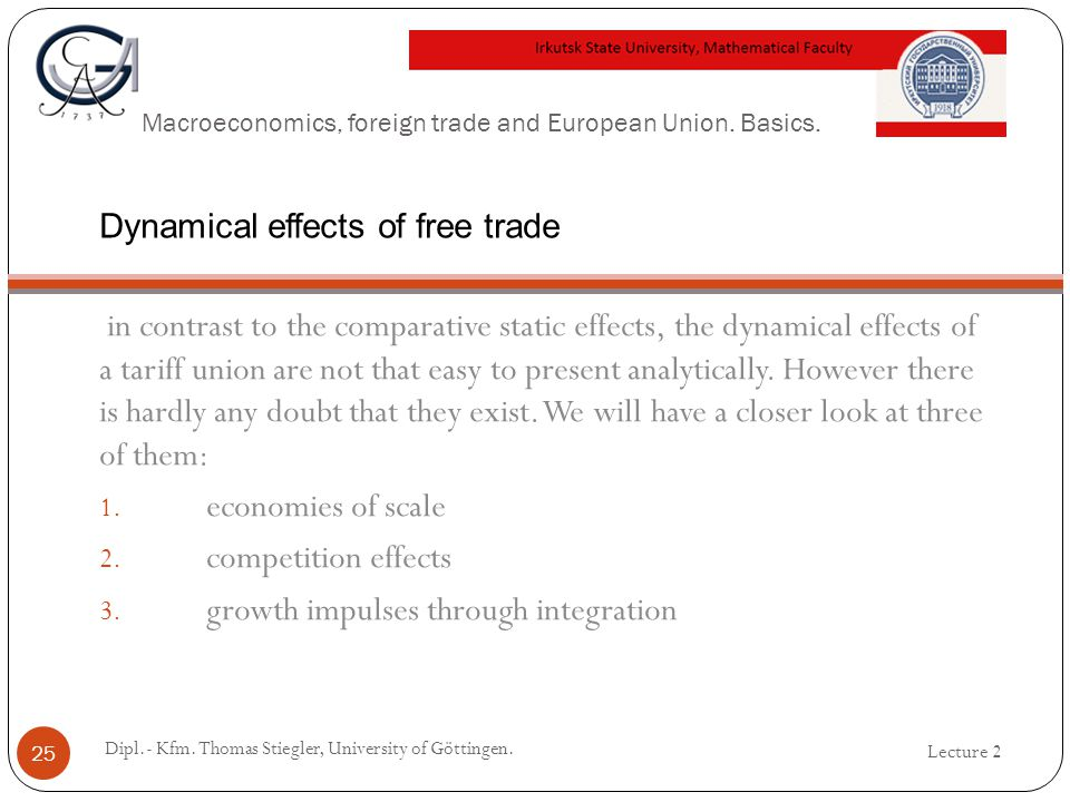 Macroeconomics, foreign trade and European Union. Basics. in contrast to the comparative static effects, the dynamical effects of a tariff union are n