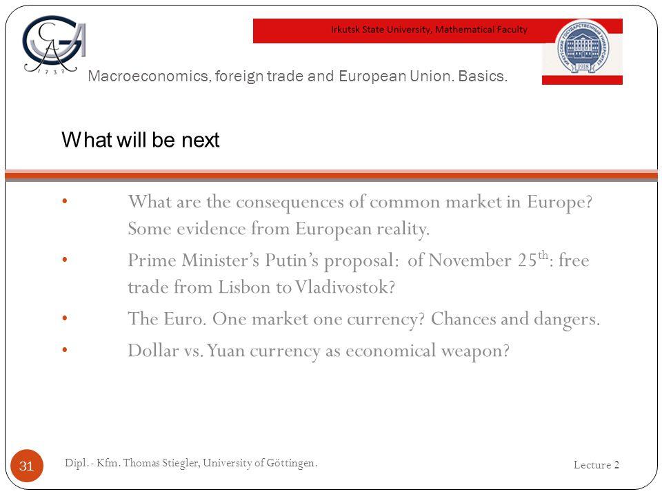 Macroeconomics, foreign trade and European Union.Basics.