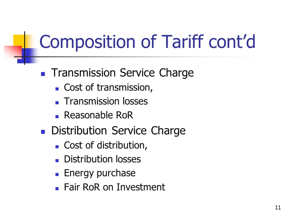 11 Composition of Tariff contd Transmission Service Charge Cost of transmission, Transmission losses Reasonable RoR Distribution Service Charge Cost of distribution, Distribution losses Energy purchase Fair RoR on Investment