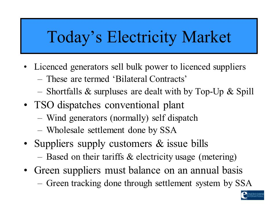 Todays Electricity Market Licenced generators sell bulk power to licenced suppliers –These are termed Bilateral Contracts –Shortfalls & surpluses are