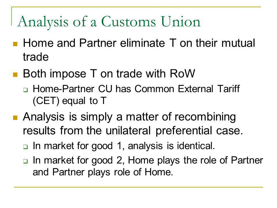Analysis of a Customs Union Home and Partner eliminate T on their mutual trade Both impose T on trade with RoW Home-Partner CU has Common External Tariff (CET) equal to T Analysis is simply a matter of recombining results from the unilateral preferential case.