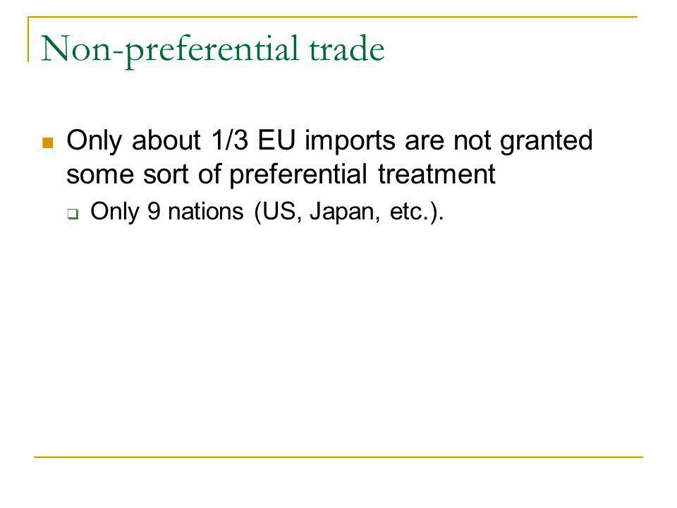 Non-preferential trade Only about 1/3 EU imports are not granted some sort of preferential treatment Only 9 nations (US, Japan, etc.).