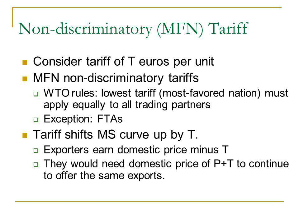 Non-discriminatory (MFN) Tariff Consider tariff of T euros per unit MFN non-discriminatory tariffs WTO rules: lowest tariff (most-favored nation) must apply equally to all trading partners Exception: FTAs Tariff shifts MS curve up by T.