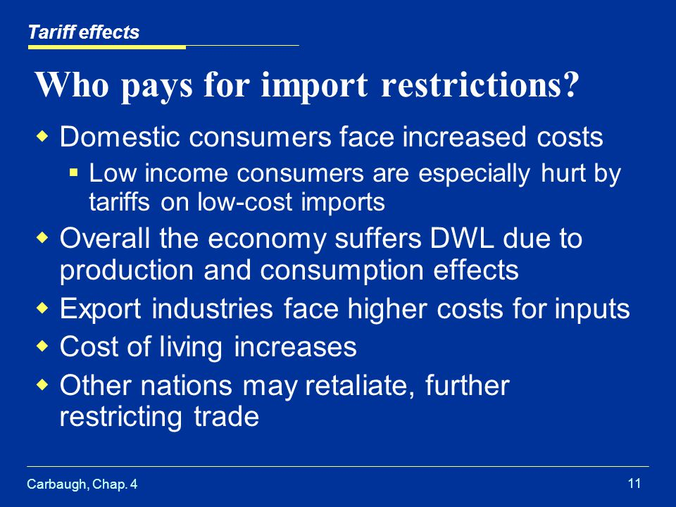 Carbaugh, Chap. 4 11 Who pays for import restrictions? Domestic consumers face increased costs Low income consumers are especially hurt by tariffs on