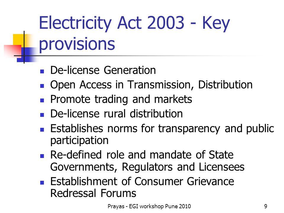 Prayas - EGI workshop Pune 201010 National Polices & Programs National Electricity Policy - February 2005 Tariff Policy- Jan 06 (Amendment – Mar 2008) National Rural Electrification Policy - Aug 2006 National Electricity Plan - Aug 2007 National Programs Rural Electrification: RGGVY Apr 2005 Urban Distribution: R-APDRP July 2008