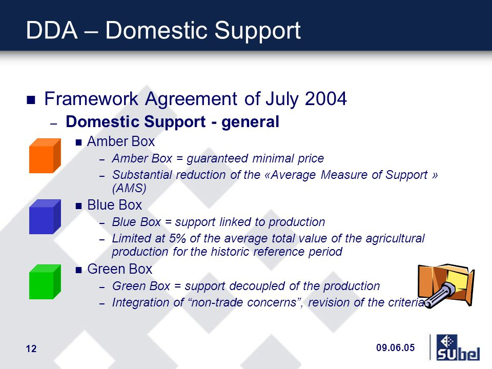 09.06.05 12 DDA – Domestic Support n Framework Agreement of July 2004 – Domestic Support - general n Amber Box – Amber Box = guaranteed minimal price – Substantial reduction of the «Average Measure of Support » (AMS) n Blue Box – Blue Box = support linked to production – Limited at 5% of the average total value of the agricultural production for the historic reference period n Green Box – Green Box = support decoupled of the production – Integration of non-trade concerns, revision of the criteria