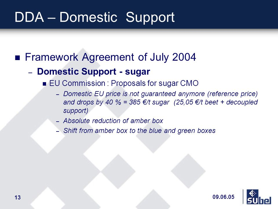 09.06.05 13 DDA – DomesticSupport n Framework Agreement of July 2004 – Domestic Support - sugar n EU Commission : Proposals for sugar CMO – Domestic EU price is not guaranteed anymore (reference price) and drops by 40 % = 385 /t sugar (25,05 /t beet + decoupled support) – Absolute reduction of amber box – Shift from amber box to the blue and green boxes