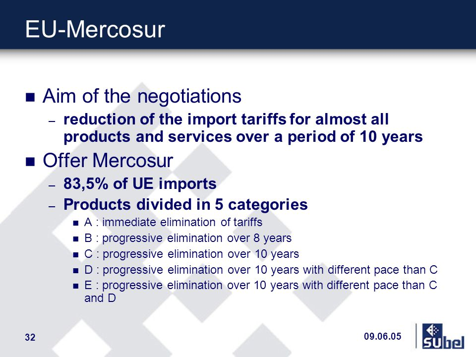 09.06.05 32 EU-Mercosur n Aim of the negotiations – reduction of the import tariffs for almost all products and services over a period of 10 years n Offer Mercosur – 83,5% of UE imports – Products divided in 5 categories n A : immediate elimination of tariffs n B : progressive elimination over 8 years n C : progressive elimination over 10 years n D : progressive elimination over 10 years with different pace than C n E : progressive elimination over 10 years with different pace than C and D