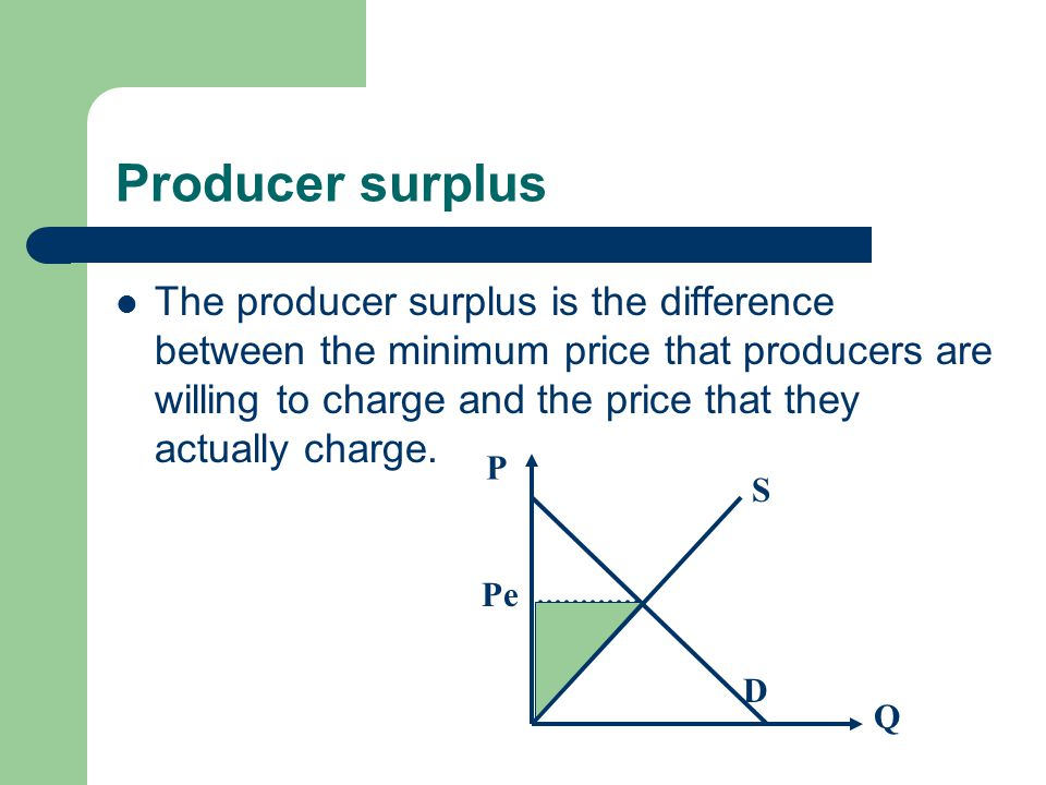 Producer surplus The producer surplus is the difference between the minimum price that producers are willing to charge and the price that they actually charge.