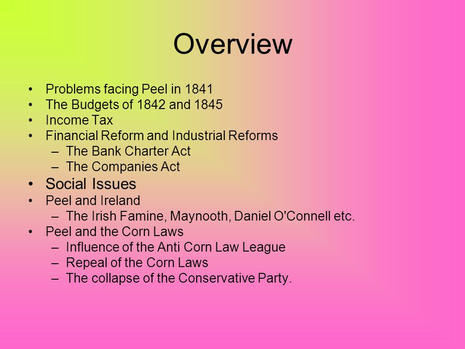 Overview Problems facing Peel in 1841 The Budgets of 1842 and 1845 Income Tax Financial Reform and Industrial Reforms –The Bank Charter Act –The Companies Act Social Issues Peel and Ireland –The Irish Famine, Maynooth, Daniel O Connell etc.