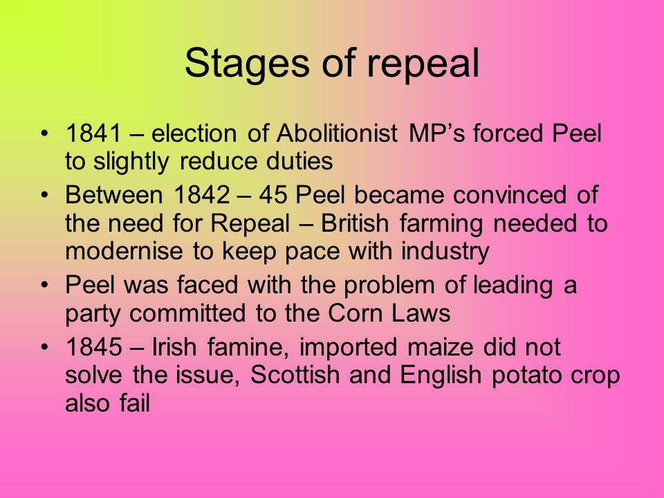 Arguments for and against repeal Against –Cheap foreign corn would ruin British farmers –Unemployment would rise in agricultural workers –Demographic