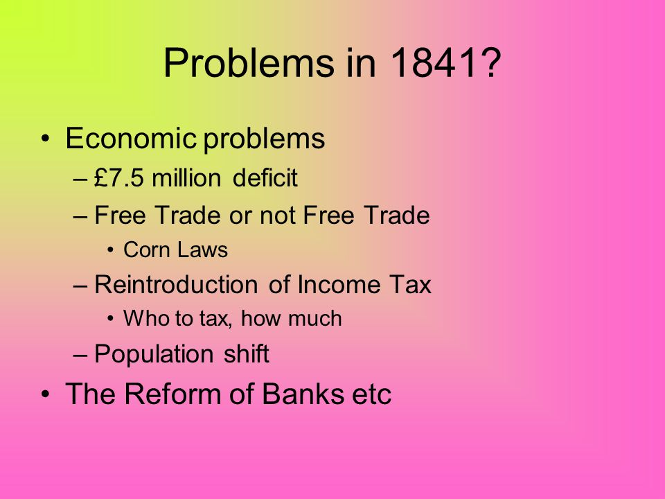 Overview Problems facing Peel in 1841 The Budgets of 1842 and 1845 Income Tax Financial Reform and Industrial Reforms –The Bank Charter Act –The Compa
