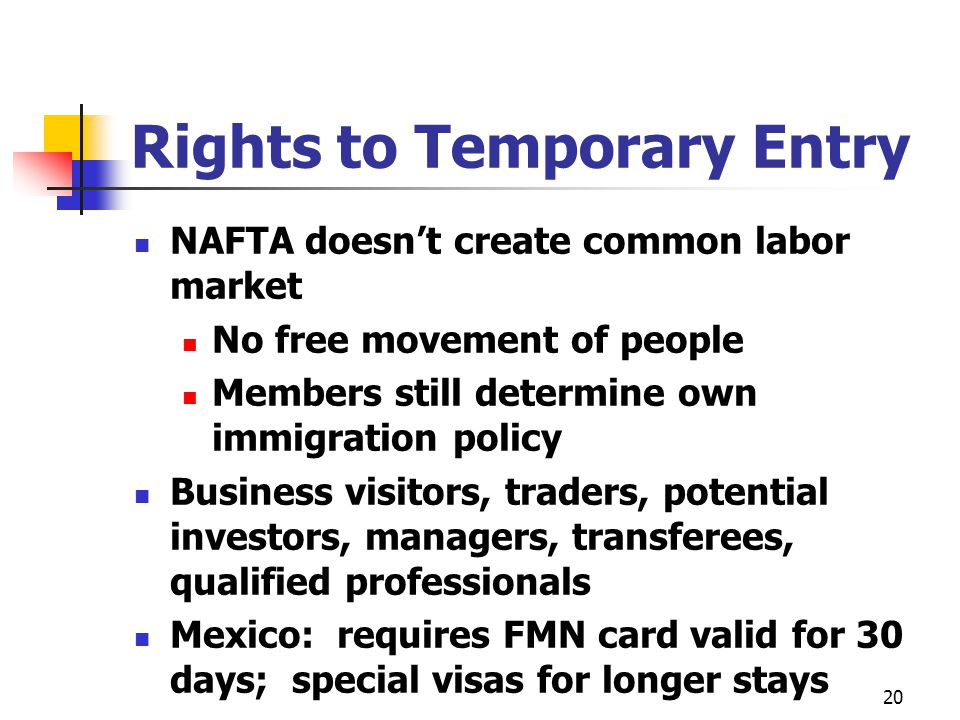 20 Rights to Temporary Entry NAFTA doesnt create common labor market No free movement of people Members still determine own immigration policy Busines