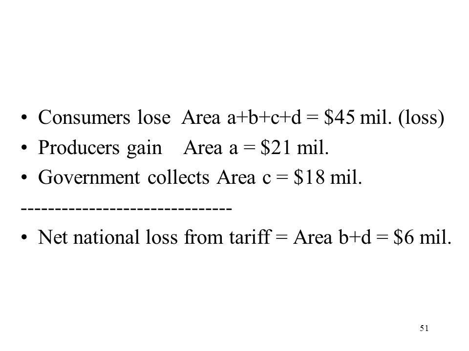 51 Consumers lose Area a+b+c+d = $45 mil. (loss) Producers gain Area a = $21 mil. Government collects Area c = $18 mil. ------------------------------