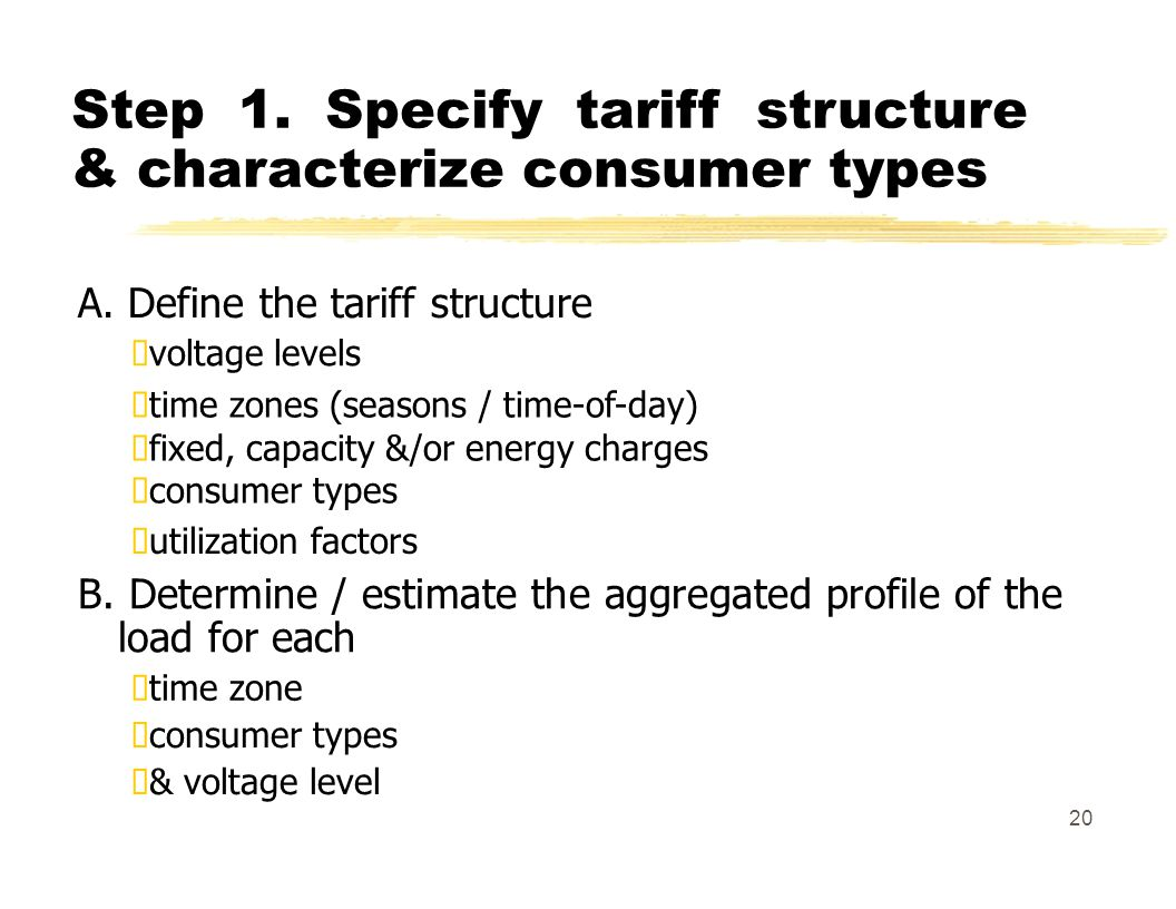 Step 1. Specify tariff structure & characterize consumer types A.
