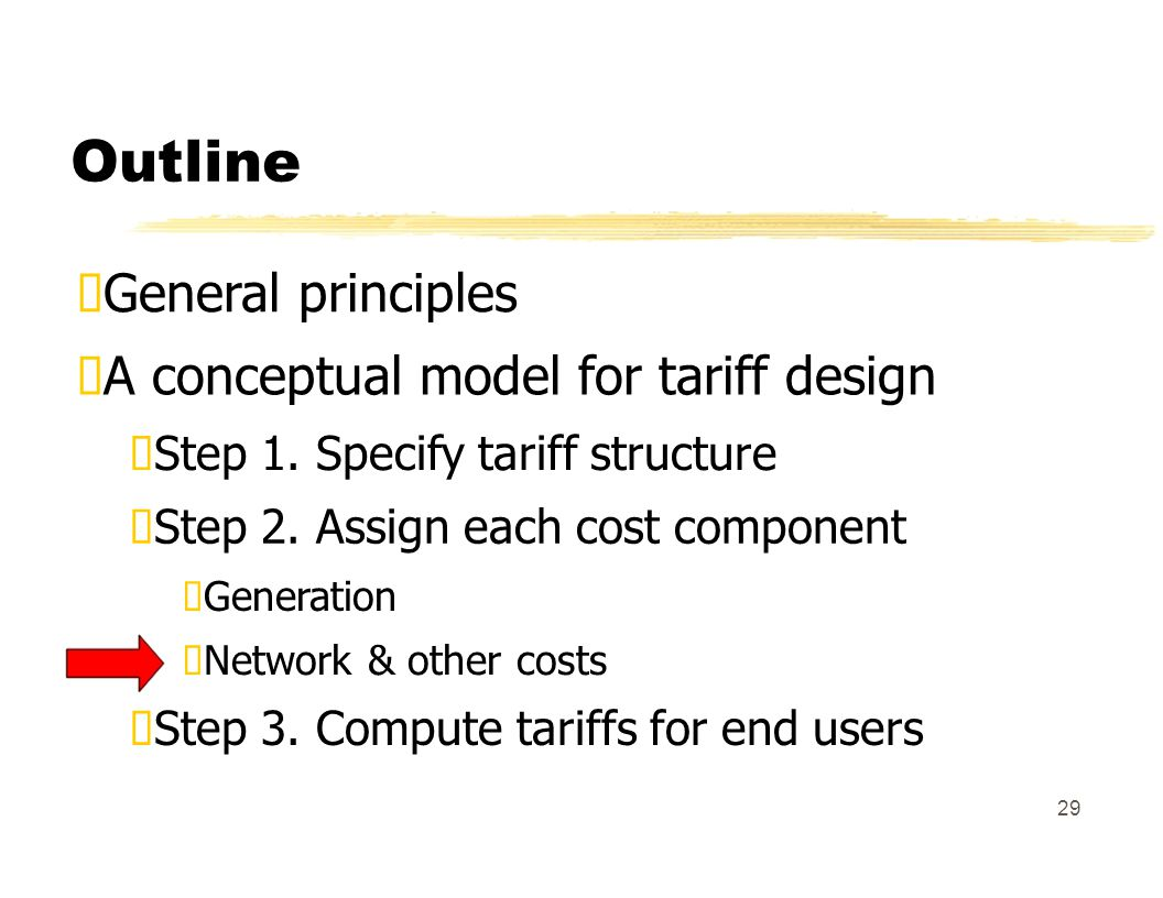 Outline General principles A conceptual model for tariff design Step 1.