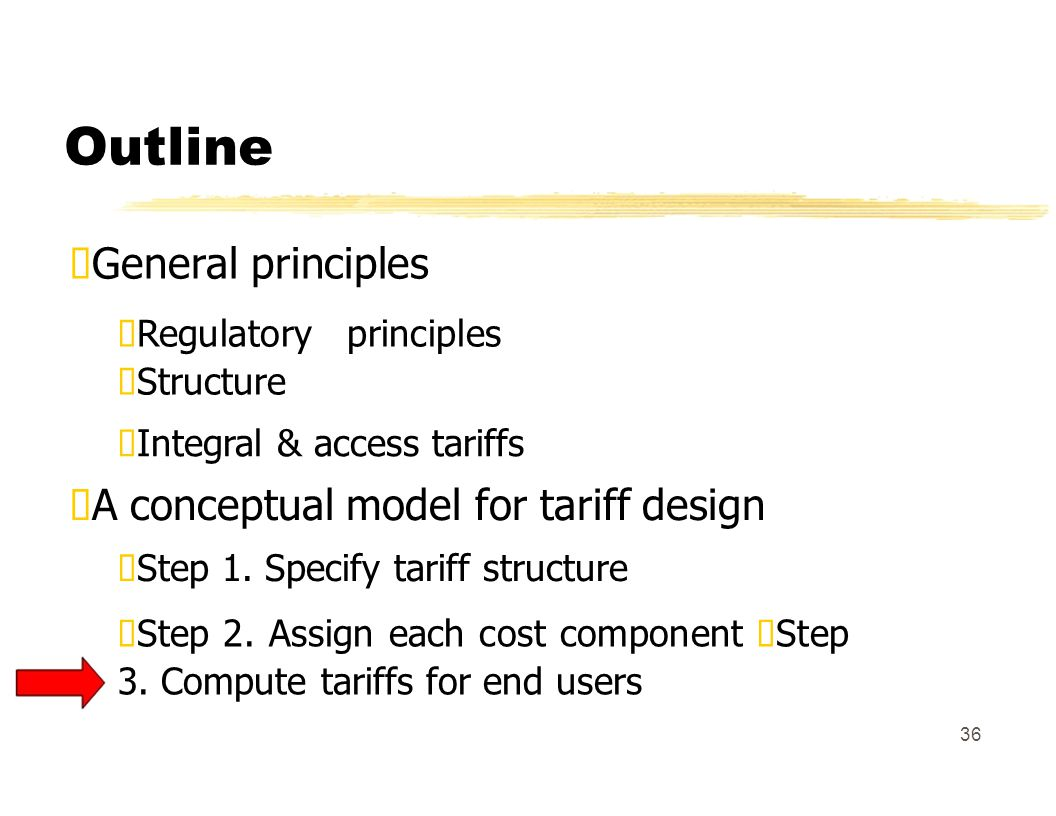 Outline General principles Regulatory principles Structure Integral & access tariffs A conceptual model for tariff design Step 1.