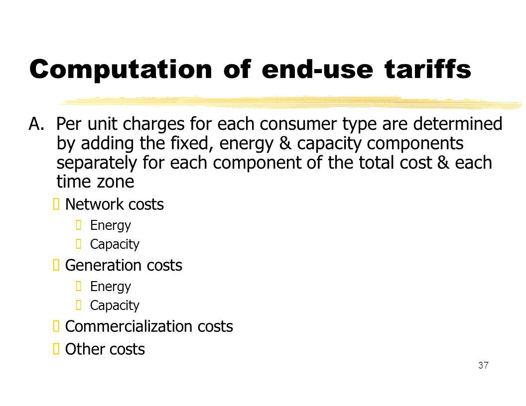 Computation of end-use tariffs A.