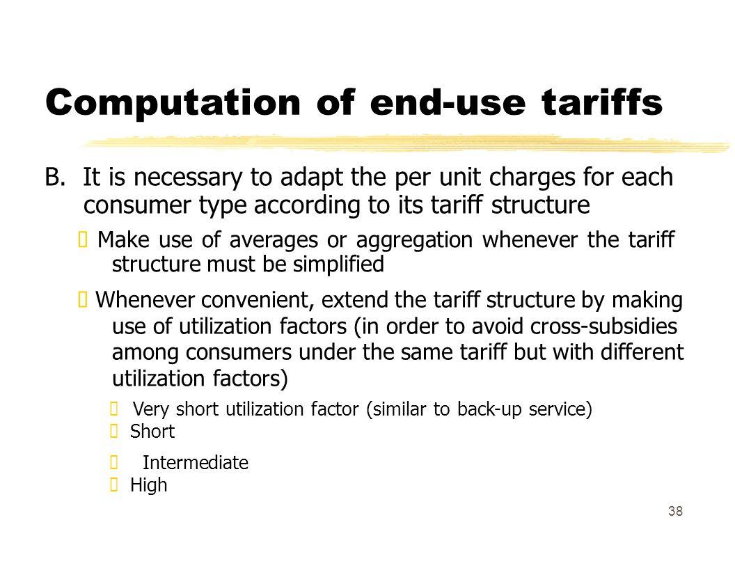 Computation of end-use tariffs B.