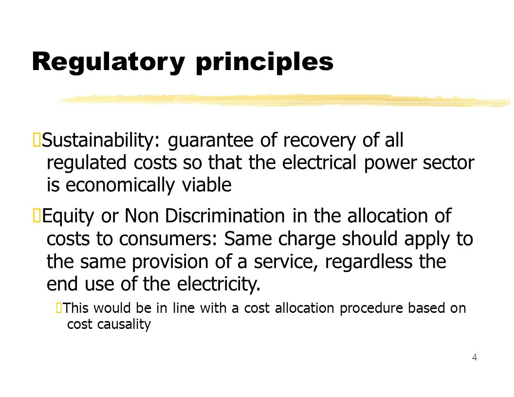 Regulatory principles Economic efficiency: Two types are considered: Productive: produce the good or service at minimum cost & meeting prescribed quality standards Allocative efficiency: promote efficiency in consumption of the good in the short & long term Tariffs must sent economic signals that promote efficient operation & investment.
