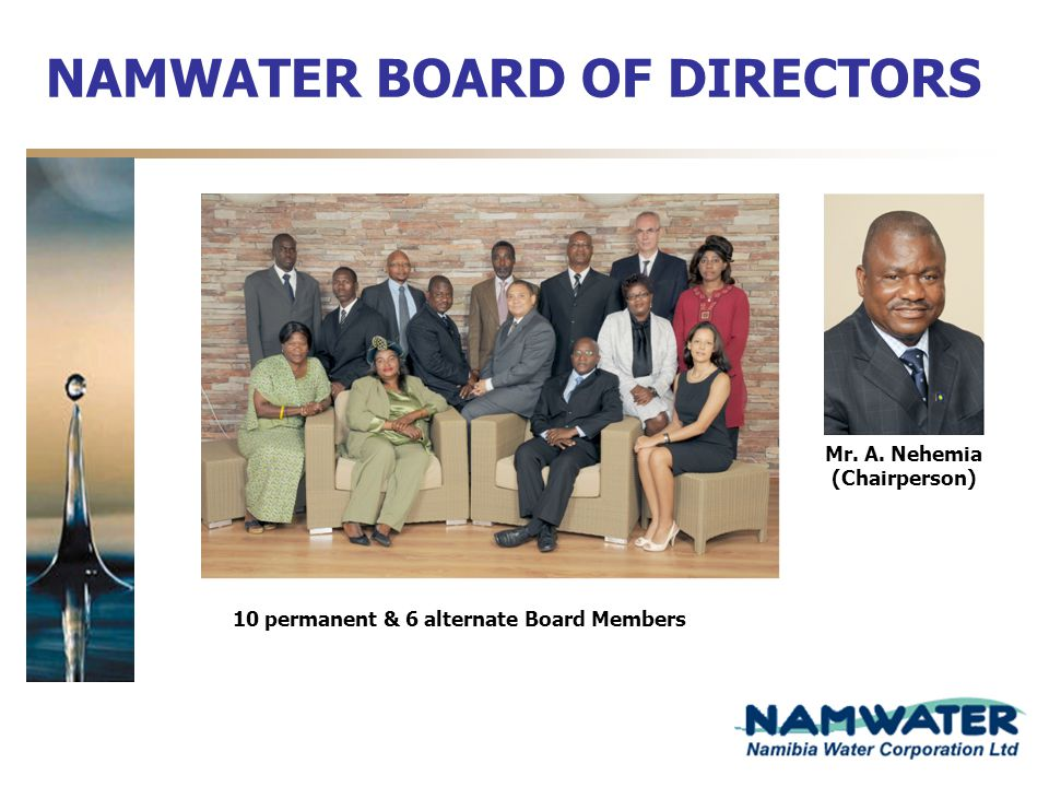 NAMWATER BOARD OF DIRECTORS Mr. A. Nehemia (Chairperson) 10 permanent & 6 alternate Board Members