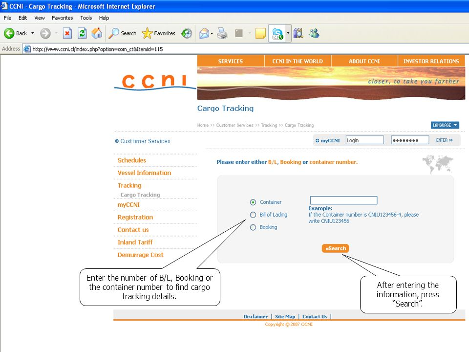 Enter the number of B/L, Booking or the container number to find cargo tracking details.