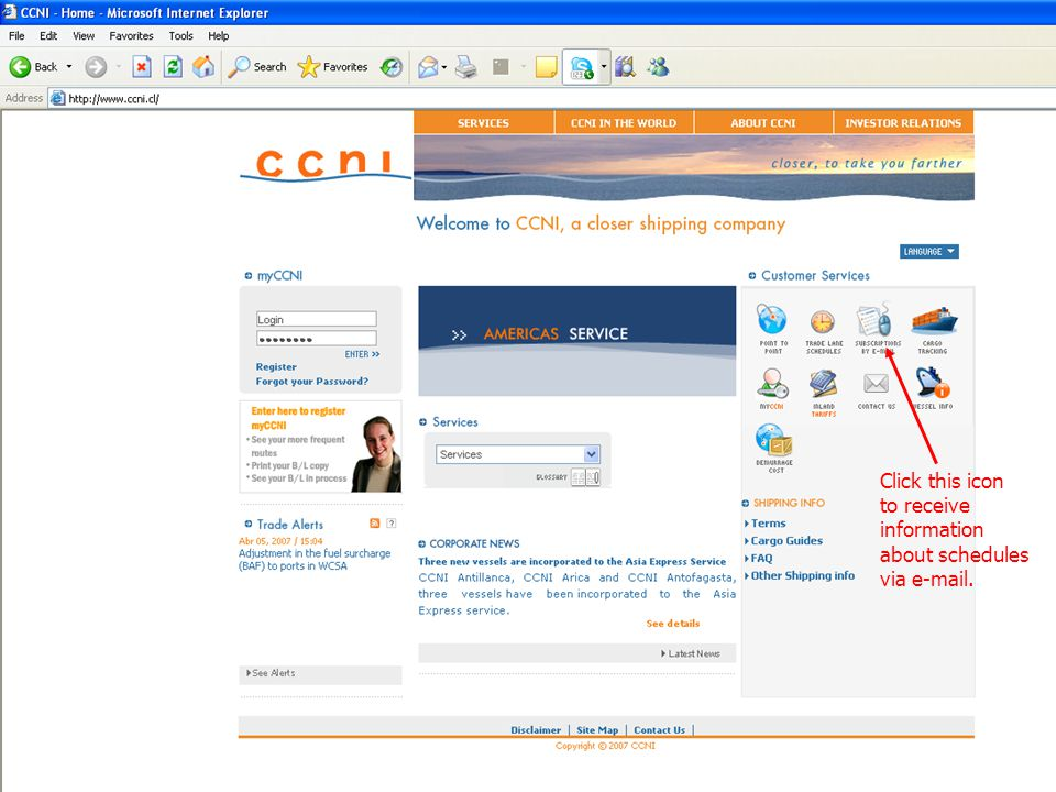Click this icon to receive information about schedules via e-mail.