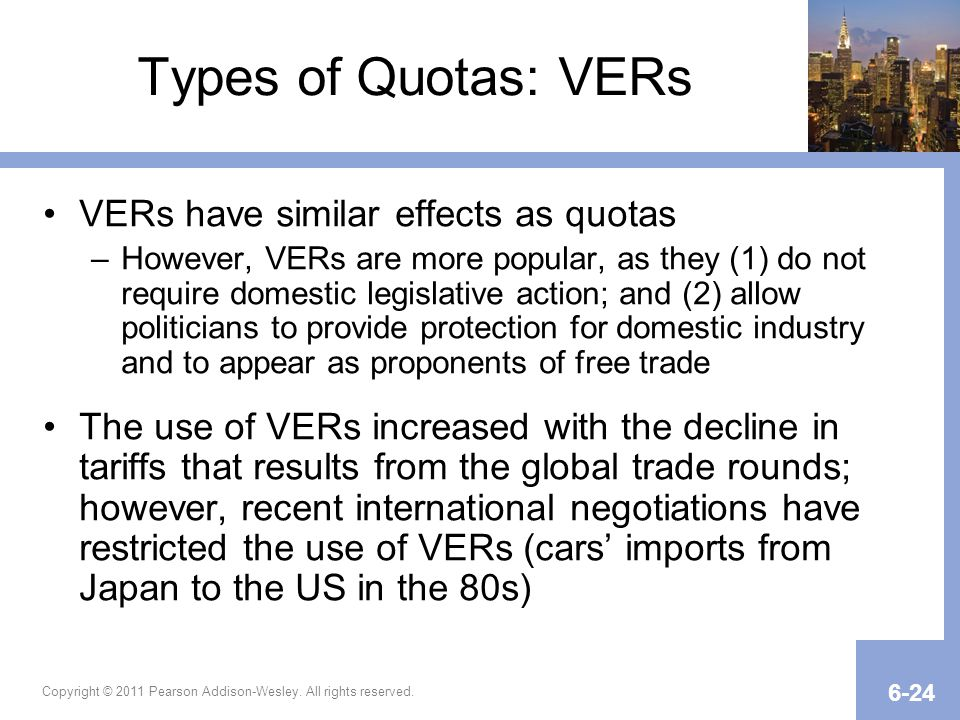 Copyright © 2011 Pearson Addison-Wesley. All rights reserved. 6-24 Types of Quotas: VERs VERs have similar effects as quotas –However, VERs are more p