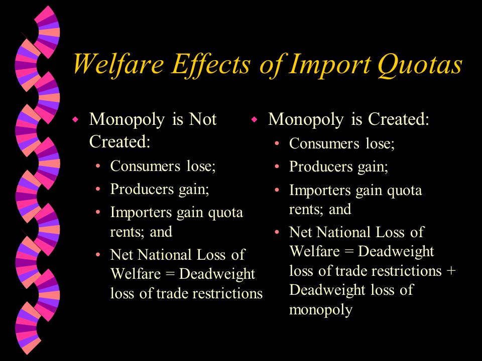 Welfare Effects of Import Quotas w Monopoly is Not Created: Consumers lose; Producers gain; Importers gain quota rents; and Net National Loss of Welfare = Deadweight loss of trade restrictions w Monopoly is Created: Consumers lose; Producers gain; Importers gain quota rents; and Net National Loss of Welfare = Deadweight loss of trade restrictions + Deadweight loss of monopoly