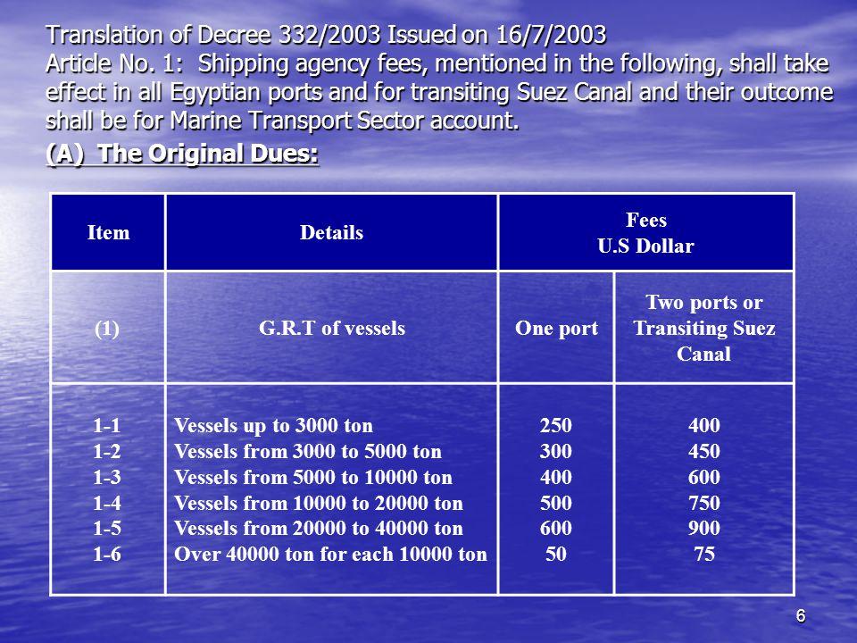 97 2- Egyptian vessels: Lighting Dues GRT X 0.04 EGP Port clearance dues 5 EGP Income department shift dues 20 EGP Marine inspection shift dues 20 EGP Imprint (quality) 21.45 EGP Imprint (Development) 2.50 EGP Departure approval dues 2.50 EGP