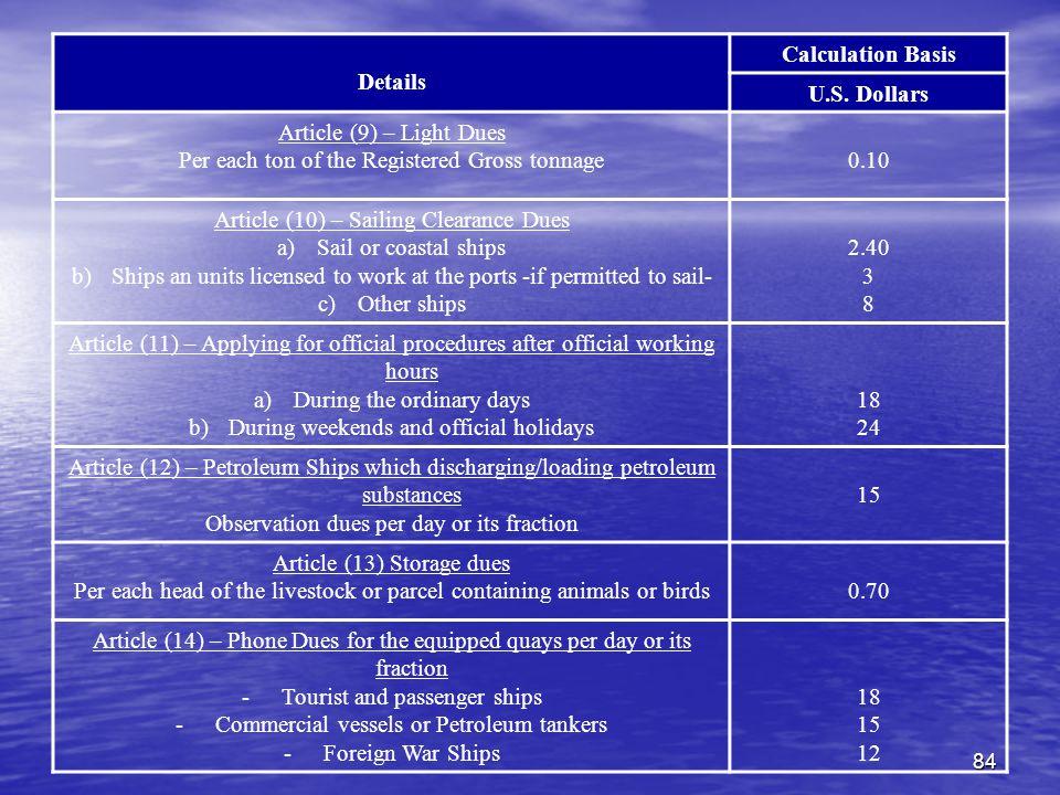 84 Details Calculation Basis U.S.