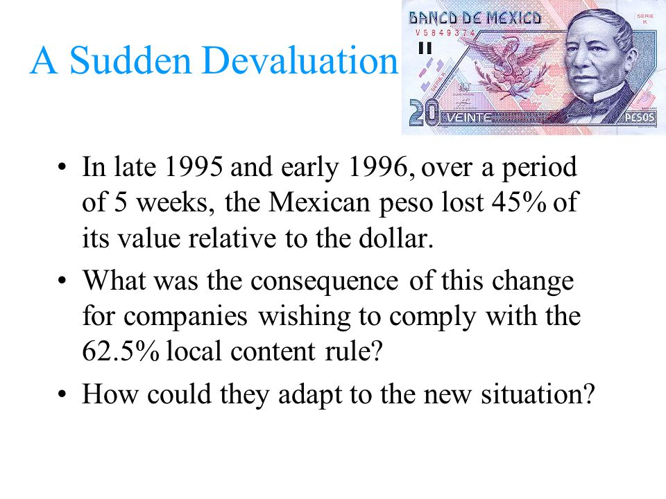 A Sudden Devaluation In late 1995 and early 1996, over a period of 5 weeks, the Mexican peso lost 45% of its value relative to the dollar. What was th
