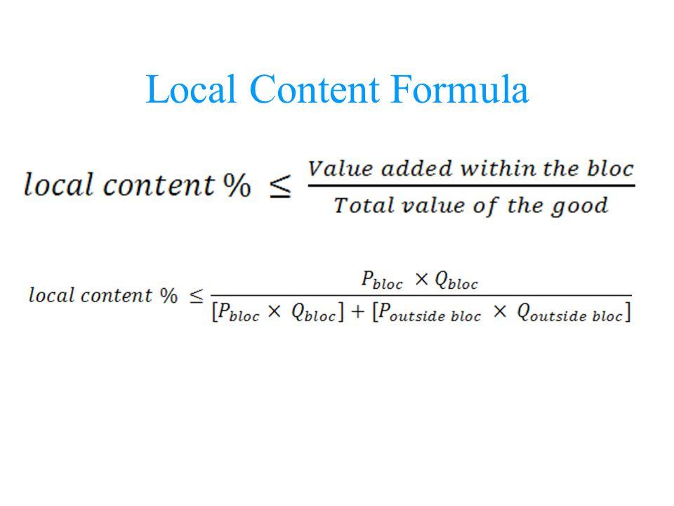 Local Content Formula