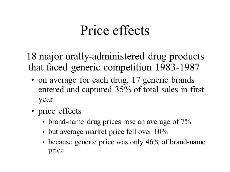 Price effects 18 major orally-administered drug products that faced generic competition 1983-1987 on average for each drug, 17 generic brands entered