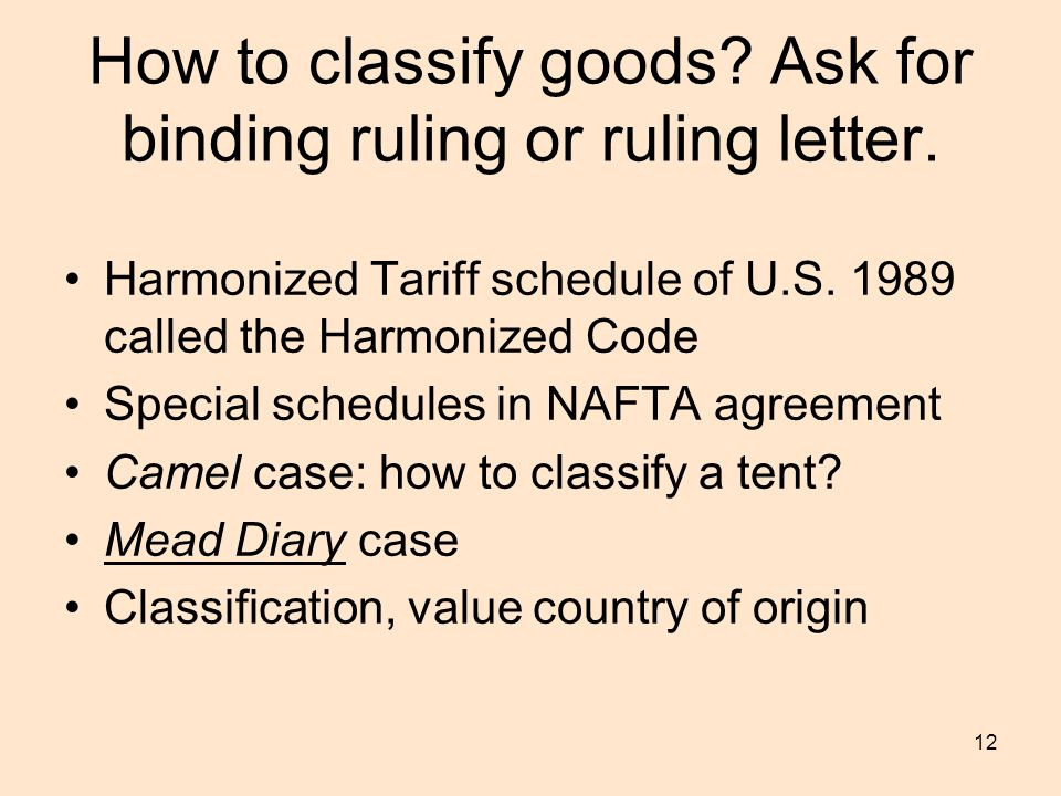 12 How to classify goods.Ask for binding ruling or ruling letter.