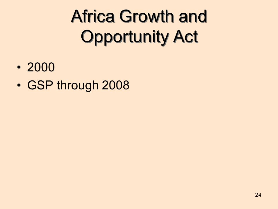 24 Africa Growth and Opportunity Act 2000 GSP through 2008