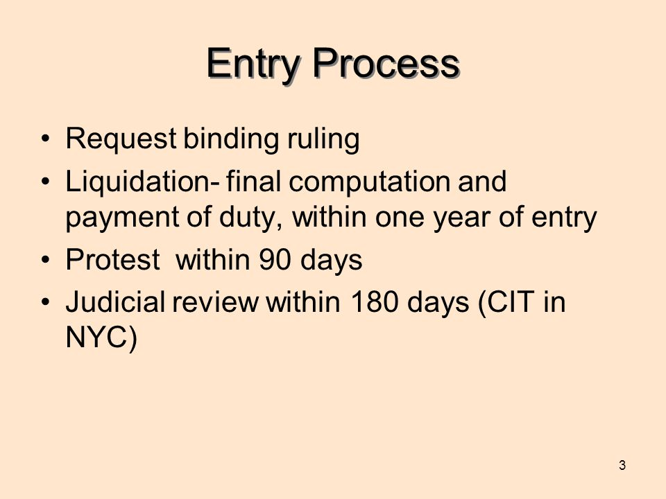 3 Entry Process Request binding ruling Liquidation- final computation and payment of duty, within one year of entry Protest within 90 days Judicial review within 180 days (CIT in NYC)