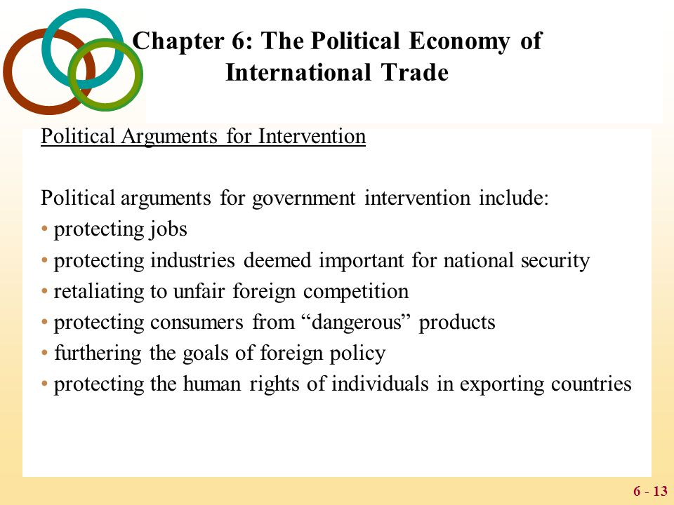 6 - 13 Chapter 6: The Political Economy of International Trade Political Arguments for Intervention Political arguments for government intervention in