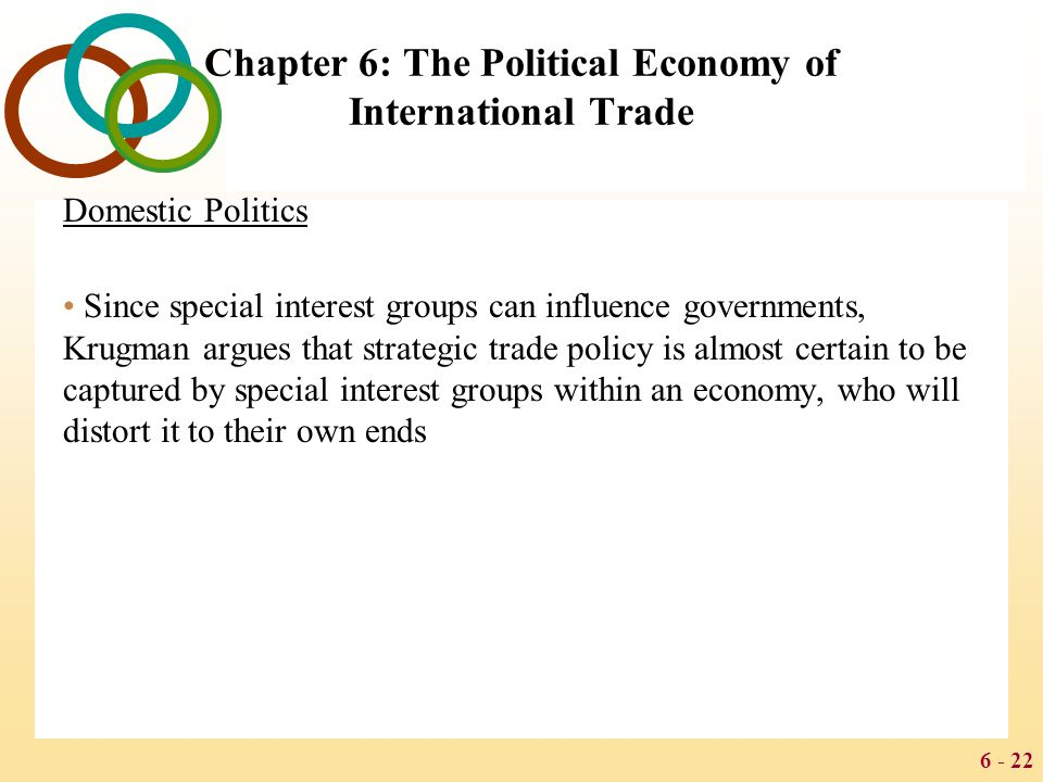 6 - 22 Chapter 6: The Political Economy of International Trade Domestic Politics Since special interest groups can influence governments, Krugman argu